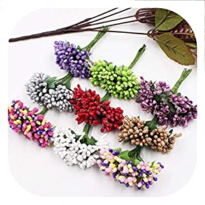 Memoirs- 12Pcs/Lot Handcraft Artificial Flowers Stamen Sugar Wedding Party Decoration DIY Wreath Gift Box Scrapbooking Fake Flowers 75