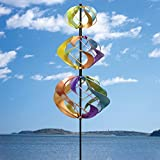 Bits and Pieces - Multi-Color Rainbow Shimmering Triple Mini Kinetic Wind Spinner Stake - Metal Outdoor Windspinner Sculpture Lawn, Garden, and Yard Decor