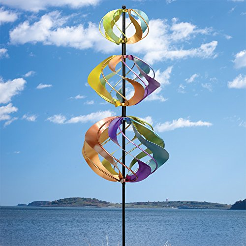 Bits and Pieces - Multi-Color Rainbow Shimmering Triple Mini Kinetic Wind Spinner Stake - Metal Outdoor Windspinner Sculpture Lawn, Garden, and Yard Decor (Wind Spinner Triple Garden)