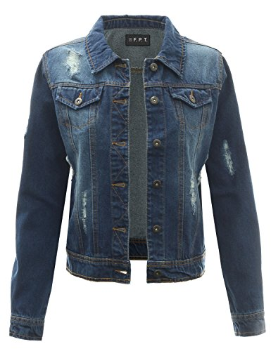 Fitted Denim Jacket - Fifth Parallel Threads Distressed Denim Jacket Dark L