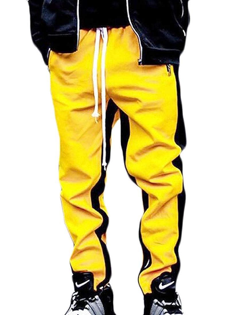 Gocgt Men Pocket Patchwork Contrast Color Sweat Pants