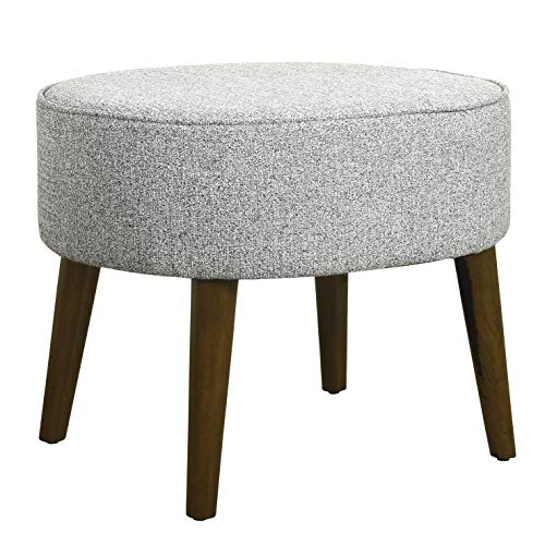 HomePop Mid Mod Oval Decorative Ottoman with Wood Legs, Ash Grey