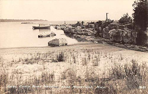 - Manistique Michigan Seul Choix Point Harbor Real Photo Antique Postcard K102310
