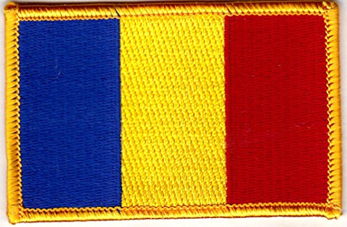 (ROMANIA FLAG w/GOLD BORDER/Iron On Patch Applique/Romanian National Flag)
