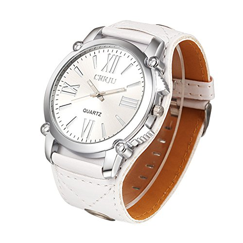 Transparent Dial Faux Leather Wrist Watch (Blue) - 2