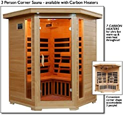 Sante Fe SA2412DX Infrared 3 Person Carbon Sauna with Bronze Tinted Tempered Glass Door Oxygen Ionizer CHROMOTHERAPY System Recessed Interior Lighting Magazine Rack and Sound System