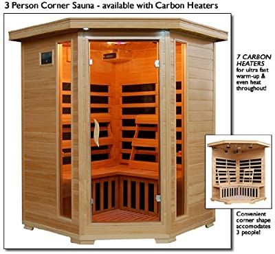 3 Person Sauna Corner Fitting Infrared FIR FAR 7 Carbon Heaters Hemlock Wood CD Player MP3 plug-in