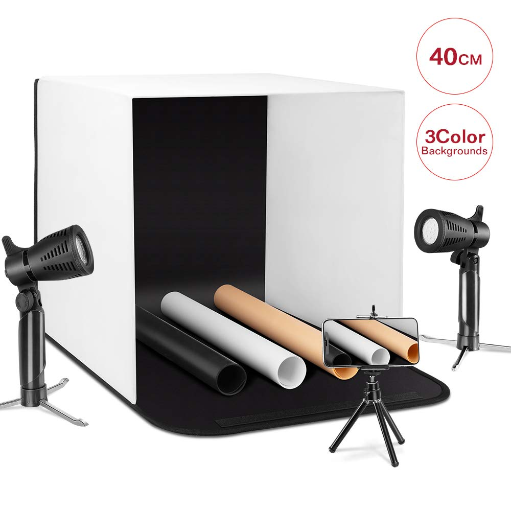 ESDDI Photo Light Box Photography 16''x16''/40x40cm Portable Table Top Lighting Shooting Tent Kit Foldable Cube with 2x20 LED Lights 3 Color Backdrop for Jewellery Product Advertising by ESDDI