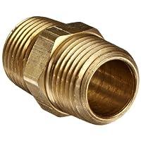 """Anderson Metals 56122 Acople para tubería de latón, boquilla hexagonal, tubo macho NPT de 1/2 """"x 1/2"""""""
