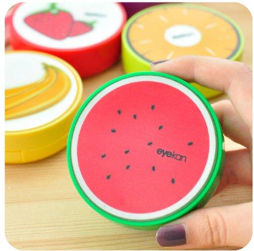Nouveau mignon Fruit Imprimer plastique Contact Lens Maté Box avec miroir (pastèque)