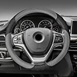 FH Group FH2001GRAYBLACK Steering Wheel Cover (Perforated Genuine Leather Gray/Black)