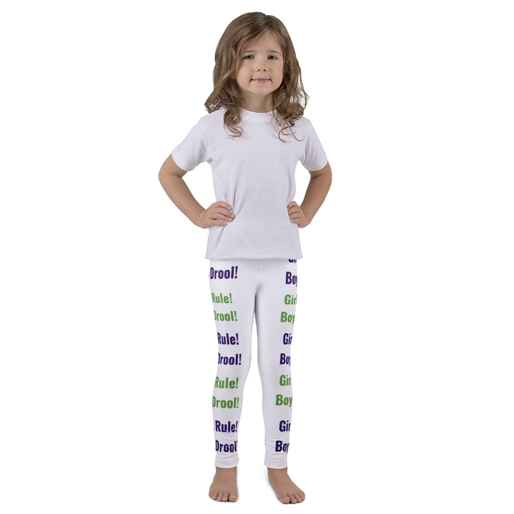 """Girls/' White With Purple and Green Text /""""Girls Rule Boys Drool!/"""" Sassy Attitude Kids Leggings"""