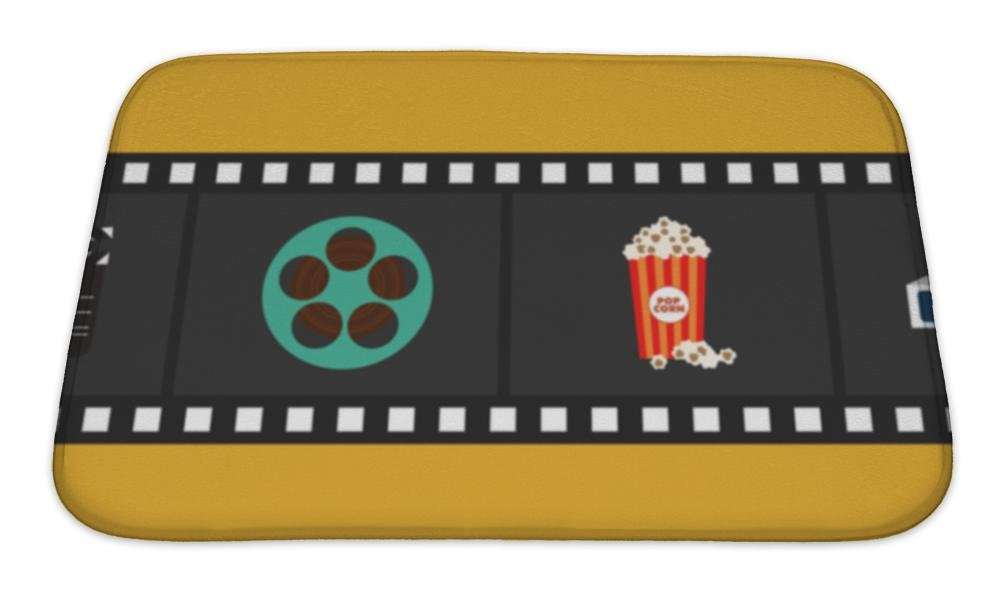 Gear New Bath Mat For Bathroom, Memory Foam Non Slip, Cinema And Movie Element Isolated With Film Reel Clapper Popcorn 3d Glasses, 24x17, 6052309GN