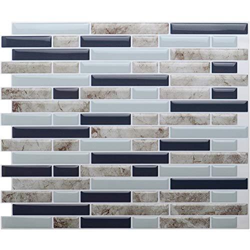 VanBest 11x9.25 Premium Anti Mold Peel and Stick Wall Tiles for Kitchen,Mosaic Design(6 Tiles)
