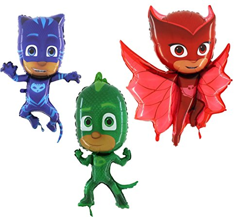 (Toyland Set of 3 Foil Shape Character Balloons - Catboy, Gekko & Owlette - Children's Party Supplies)