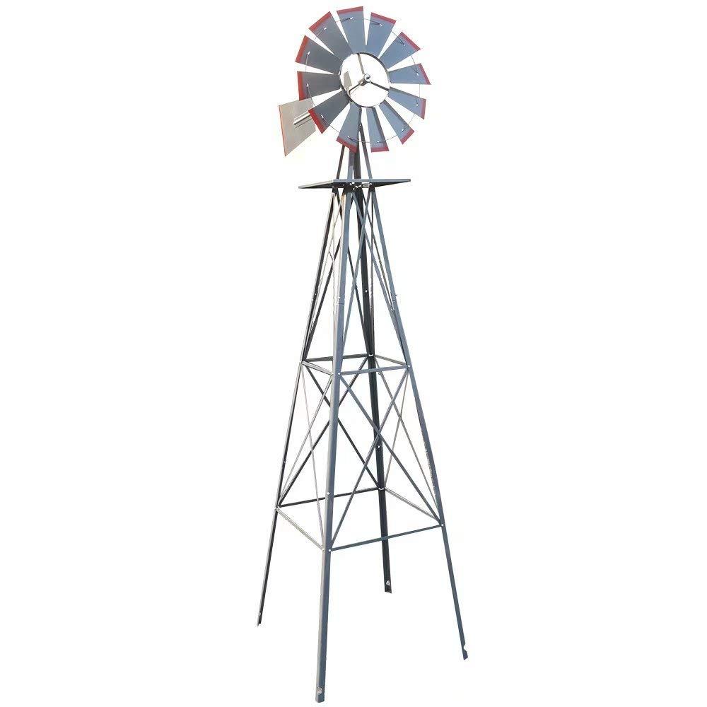 VINGLI 8FT Ornamental Windmill Backyard Garden Decoration Weather Vane, Heavy Duty Metal Wind Mill w/ 4 Legs Design, Grey by VINGLI