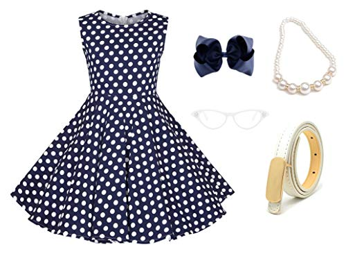 50s Girls Vintage Swing Dresses Casual Party Outfits Costume Dress Set with 50's Accessories Set of -