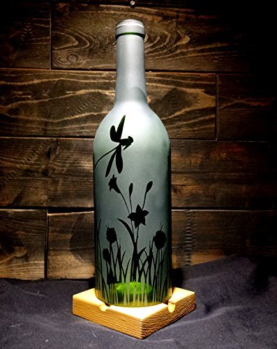 Etched Recycled Wine Bottle Candle Shade Hurricane Lamp Dragonfly Flower Grass Engraved Handmade (Wine Bottle Hurricane)