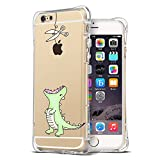 iPhone 6S Case, Ultra Thin Slim Air Cushion TPU Silicone Bumper Shockproof Cute Funny Cases Clear with Art Design Dinosaur Cartoon Animal Pattern Protective Cover Girls for Apple IPhone 6 6S 4.7 Inch