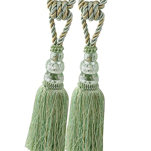 (Chictie 2 Pack Curtain Tassel Tiebacks Crystal Beaded Fringe Ropes for Drapery Window Door Decorations (Green))