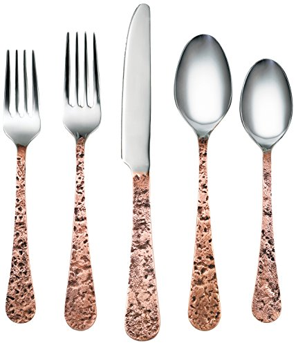 Cambridge Silversmiths 282420R Indira Kashmira Antique Flatware Silverware Set, Copper Finish, Service for 4, Includes Forks/Spoons/Knives,20 Piece - SILVERWARE SET INCLUDES: 20-piece flatware: 4 salad forks, 4 dinner forks, 4 dinner knives, 4 dinner spoons and 4 teaspoons HEAVY WEIGHT: Made of heavy weight 14/0 stainless steel. NEVER NEEDS POLISHING: It will come out of the dishwasher good as new for many years - kitchen-tabletop, kitchen-dining-room, flatware - 51biUpQVCFL -