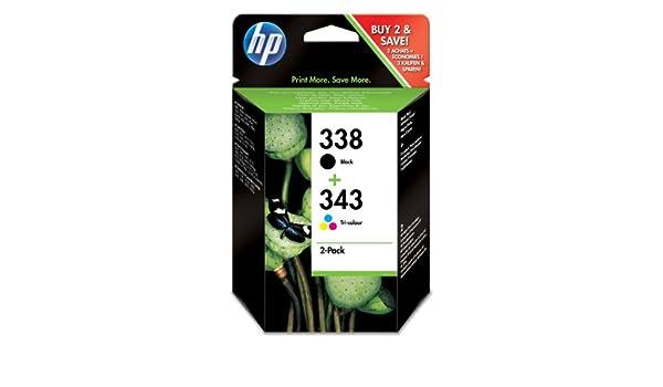 HP 338/343 - Cartucho de Tinta para impresoras (Negro, Cian, Magenta, Amarillo, 480 páginas, 3.8 cm, 20-80%, 0-40 °C, 5-95%): Amazon.es: Oficina y papelería