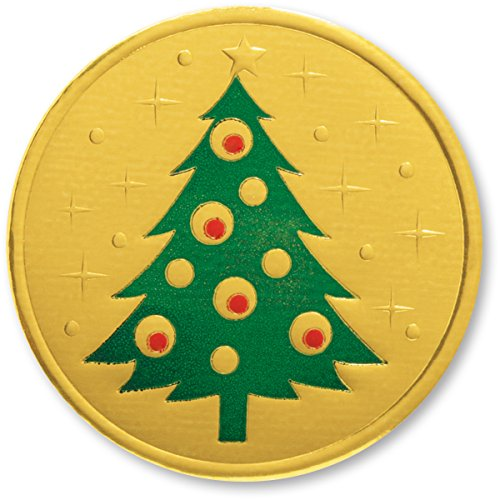 Tree Embossed Seals - Deeply Embossed Trimmed Christmas Tree Gold Foil Holiday Seals, 1 1/4 Inches, Self Adhesive 48 Count
