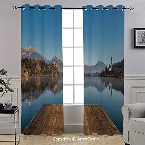 AmorFash Art Blackout Curtains,Thermal Insulated Soundproof Curtain Panels,Light Blocking Drapes,52x84 Inch,Old Deck by The River with Mountains Landscape Fall in a Village Rural Scenic Print