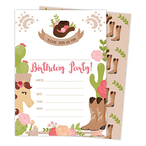 Cowgirl Cow Girl Happy Birthday Invitations Invite Cards (25 Count) with Envelopes & Seal Stickers Boys Girls Kids Party (25ct) -