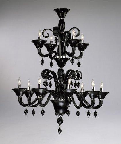 Cyan Lighting 6494-12-14 Treviso - Twelve Light 2-Tier Chandelier, Chrome Finish with Black Murano Glass with Black Murano Crystal