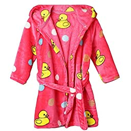 Jojobaby Unisex-baby Fleece Warm Bath Robe Hooded Pajamas Children\'s Sleepwear (100cm, Red-Duck)