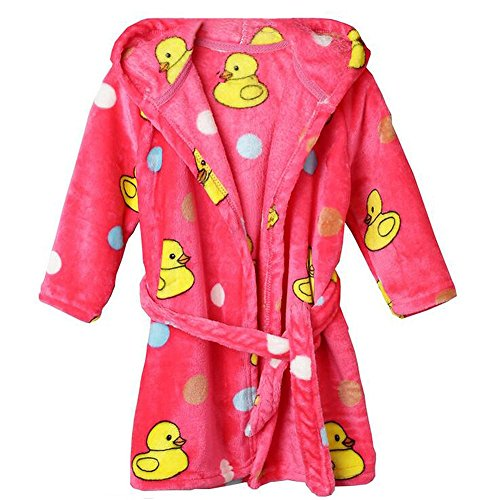 Fleece Sleeved Long Robe Girls (Jojobaby Unisex-baby Fleece Warm Bath Robe Hooded Pajamas Children's Sleepwear (100cm, Red-Duck))