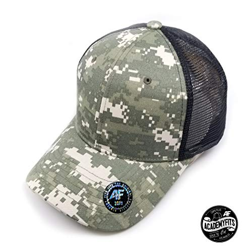 AcademyFits 6 Panel Cotton Nylon Trucker Mesh Cap Snapback Hat Made Adjustable Fits Men Women Unisex Constructed Waterproof (Digital Camo/Black)