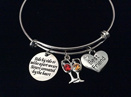 Sisters Best Friends Connected by The Heart Expandable Charm Bracelet Wine Silver Adjustable Bangle Trendy Gift