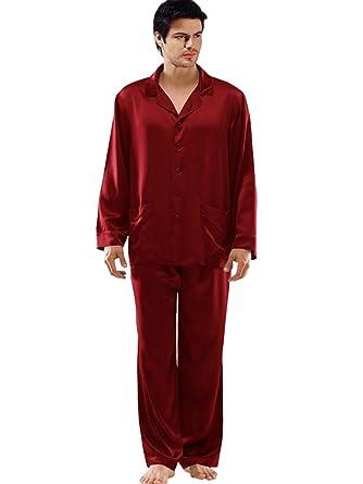 ElleSilk 100% Seda Clásico Pijamas Hombre, Mangas Pantalones Largos Set, 22 Momme, Vino, L: Amazon.es: Ropa y accesorios