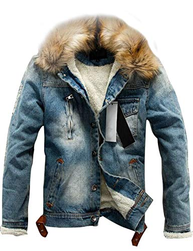 Omoone Men's Button Up Sherpa Fleece Lined Denim Jacket with Faux Fur Collar (Blue, M) - Fur Collar Pockets
