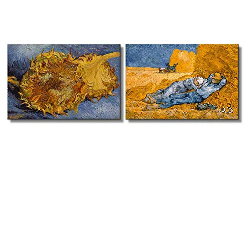 Sunflowers Noon Rest from Work by Vincent Van Gogh Oil Painting Reproduction in Set of 2 x 2 Panels