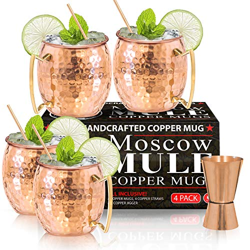 Moscow Mule Copper Mugs - Set of 4-100% HANDCRAFTED - Food Safe Pure Solid Copper Mugs - 16 oz Gift Set with BONUS: Highest Quality Cocktail Copper Straws and Jigger! ()