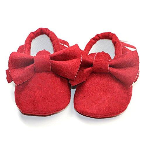 Domybest Sommer Neugeborenes Baby Schuhe Leder Fringe Crib Erste Wanderer Weichbesohlten Rot