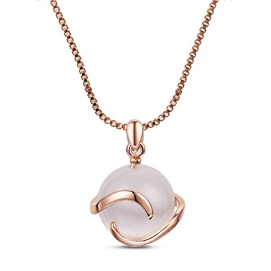Pendentif en argent rose en œil de chat réglable pour femme avec perle