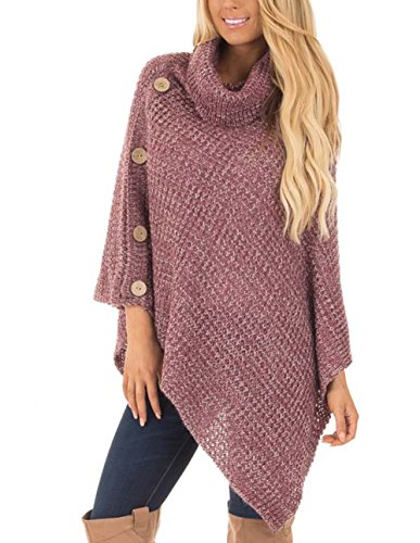 Jug&Po Women's Turtleneck Cable Knit Button Poncho Capes Pullovers Sweater