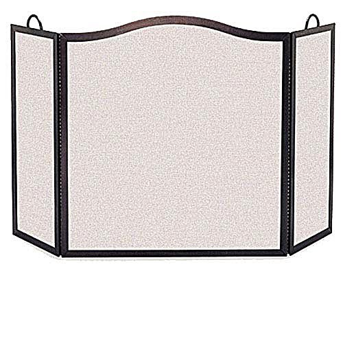 Pilgrim 3 Panel Camelback Fireplace Screen - Vintage Iron Size - Small - 46W x 28.5H inches