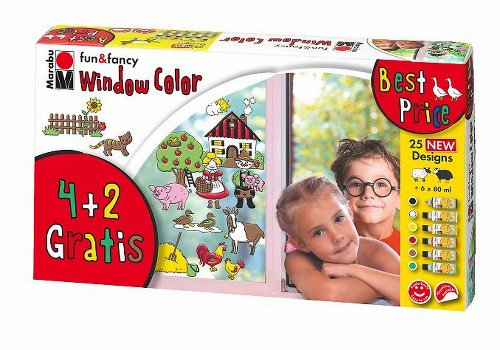 Marabu Window Color Set 4+2 Farmer´s World /040600101 6 x 80 ml Farmer's World by Marabu by Marabu