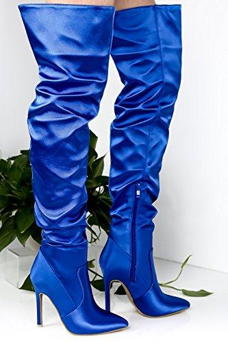 Lolli Couture Marilyn Moda Konstläder Sys Design Chunky Häl Tillfällig Knähöga Västra Stövlar Bulesatin-us-003