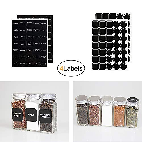 Meckily 24 Glass Spice Jars- Square Glass Containers With Square Empty Jars 4oz, Airtight Cap, Chalkboard & Clear Label, Shaker Insert Tops and Wide Funnel - Complete Organizer Set by MEckily (Image #1)