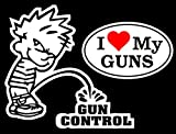 Chiam-Mart 1 Set Awe inspiring Unique Boy Peeing Piss Gun Control I Love My Guns Window Sticker Sign 24Hr Protected Military Surveillance Wall Windows Graphics Patches w/2 Style