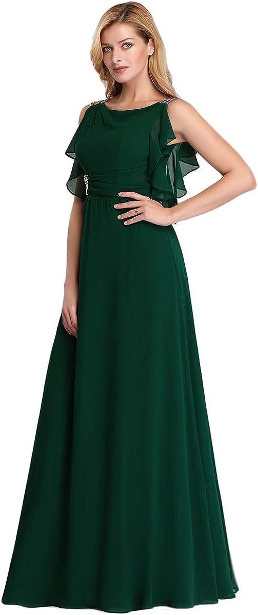 Ever-Pretty Womens Round Neck Sleeveless with Ruffes A Line Empire Waist with Rhinestone Elegant Chiffon Long Bridesmaid Dresses 07891