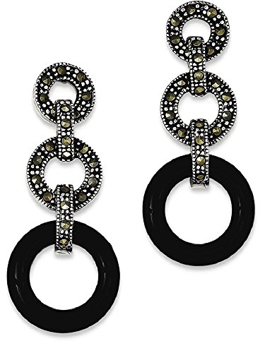 ing Silver Black Onyx Marcasite Circles Post Stud Earrings Drop Dangle Fine Jewelry Gift Valentine Day Set For Women Heart (Heart Marcasite Set)