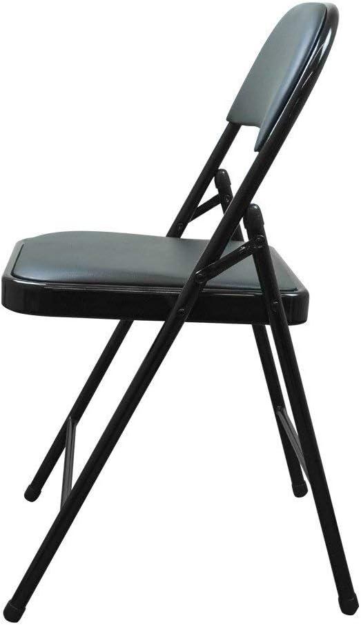 Visitatore Sedie pieghevoli Heavy Duty Imbottito Ecopelle Metallo Sedia della Scrivania Ufficio Posto A Sedere per Ospite Color : Black Conferenza CJC