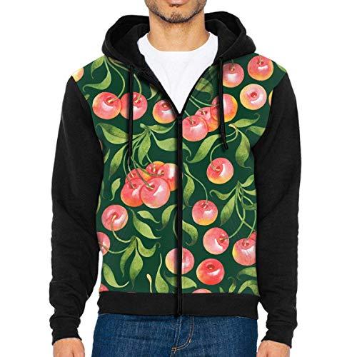 DeReneletrc Men's Casual Full Zip Jackets Hoodie Cherry Hooded Sweatshirt Pullover with Pocket